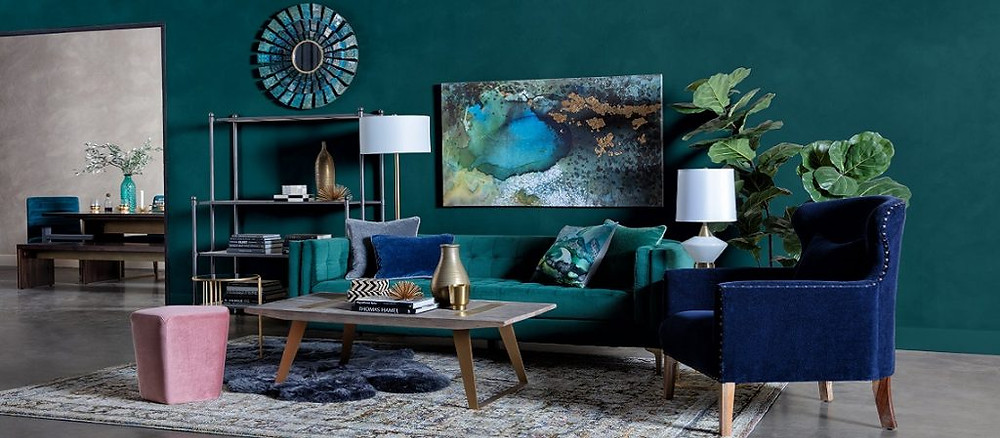 Three contrasting colors room palette complementing each other