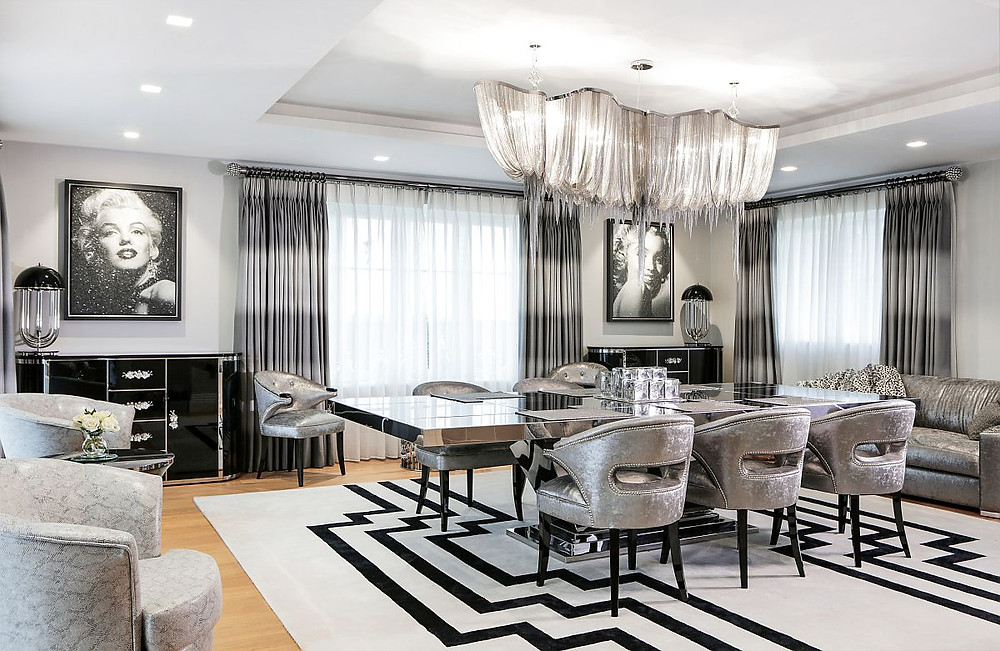 Hollywood Glam Style Dining room