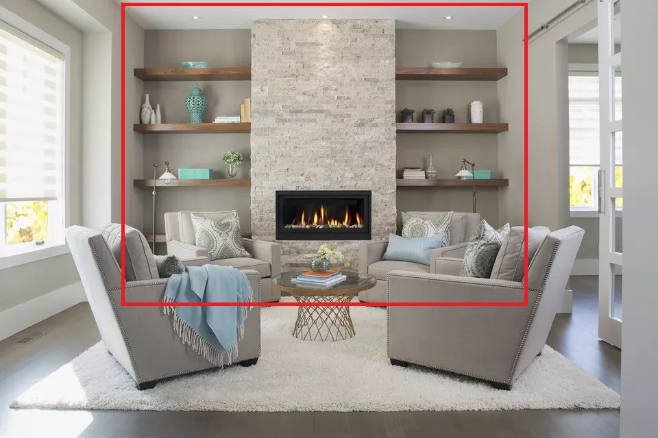 Fireplace wall acting as emphasis in the room