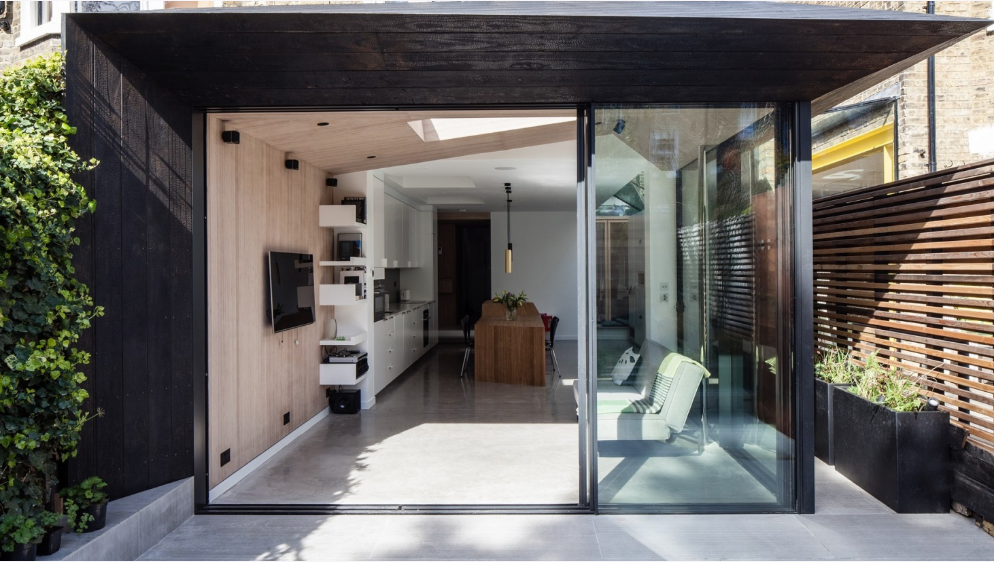 Shou Sugi Ban technique in house exterior