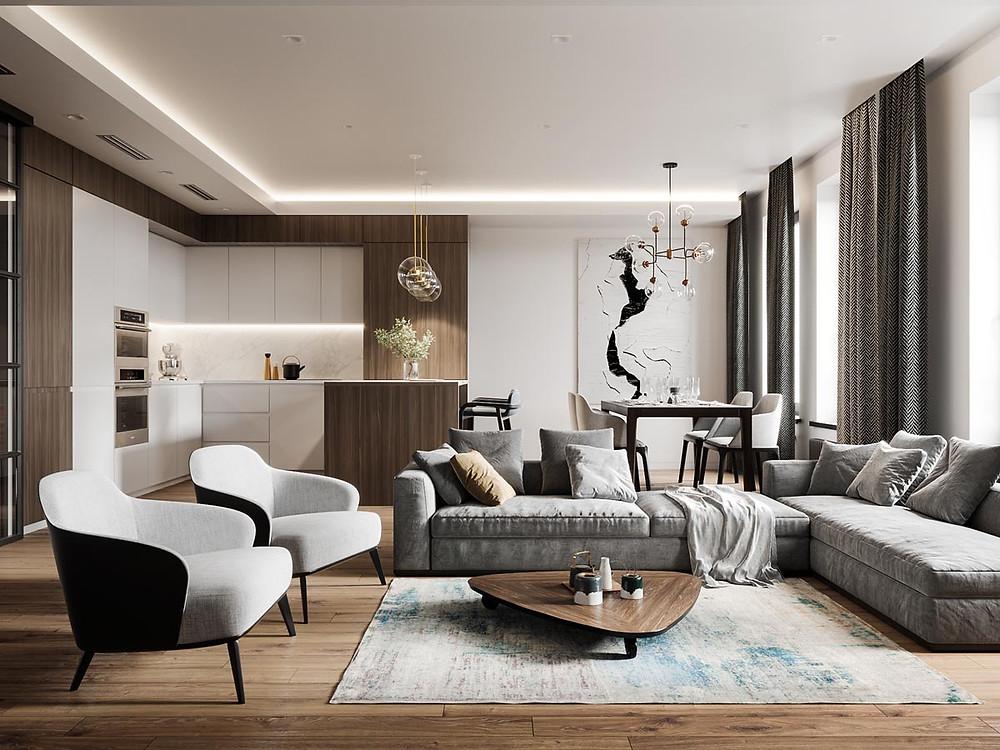 Modern Glam Style living room