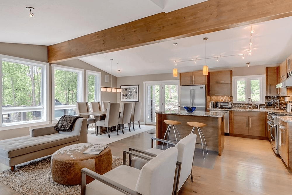 Open Floor Plan-Dining, Sitting Space, And Kitchen