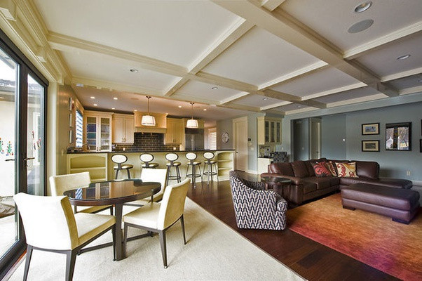 Open floor areas highlighted with solid different colored rugs