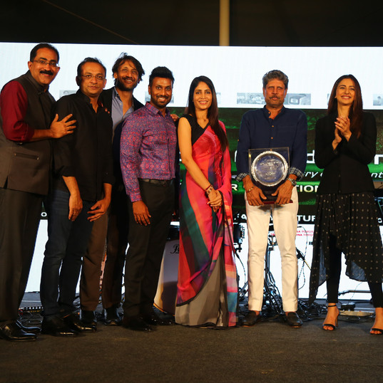 From left: Dr. Satish Ghanta, Mr. Shobu Yarlagadda, Mr. Rishi Raj Singh, Mr. Sanjay Gaddipati, Ms. Madhavi Chalasani, Mr. Kapil Dev and Ms. Rakul Preet Singh