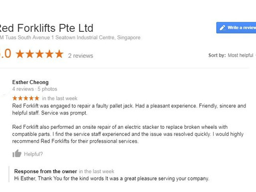 Another satisfied customer. Another day @ Red Forklifts Pte Ltd