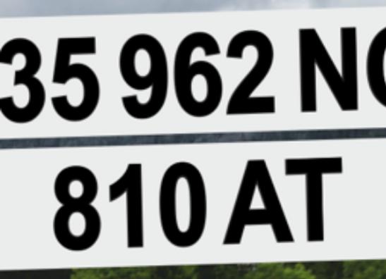 Plaque d'immatriculation 52x11cm Plexiglas