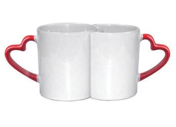Mugs couple hanse en coeur rouge