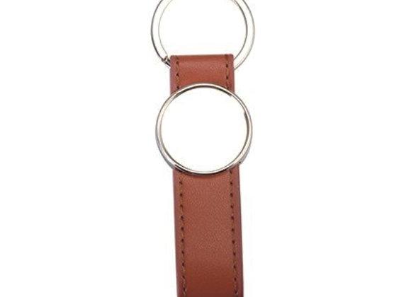 Porte-clé similicuir brun