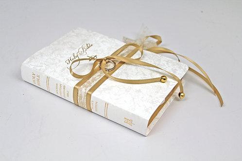 White, Champagne, Gold Ring Bearer Bible