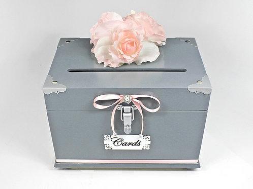 Gray & Pink Medium Card Box Trunk with Bottom Trim