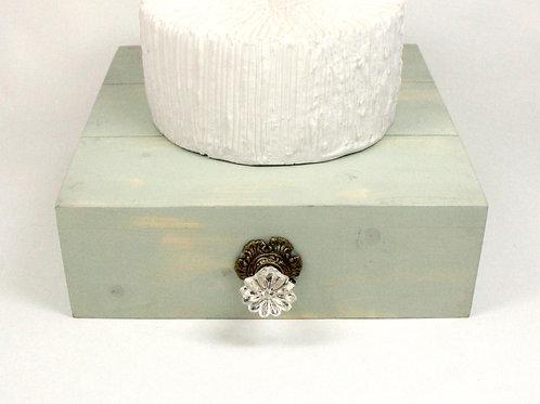 Sage Green Rustic Box Cake Stand with Slats & Vintage Knob
