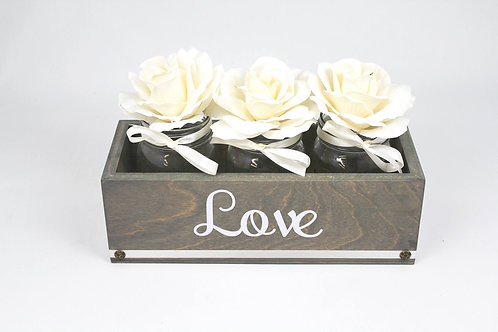 Weathered Gray & Ivory Centerpiece Box