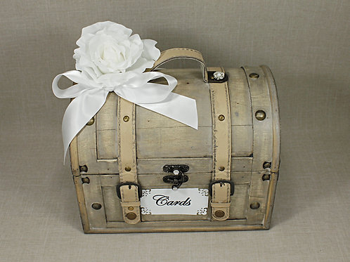 Dome Shabby Chic Card Box with White Accents
