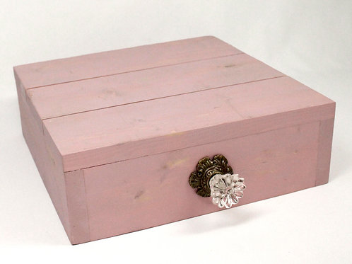 Pink Rustic Box Cake Stand with Slats & Vintage Knob