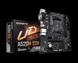 לוח אם למעבדי Gigabyte A520M S2H VGA DVI HDMI AM4 AMD