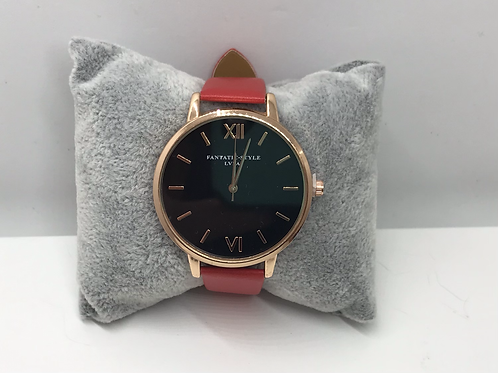 Rose Gold with Red Strap Watch