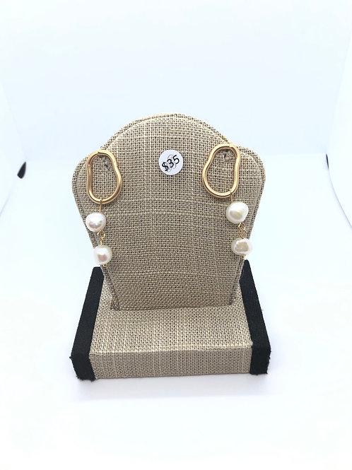 Pearl + Gold Dangles
