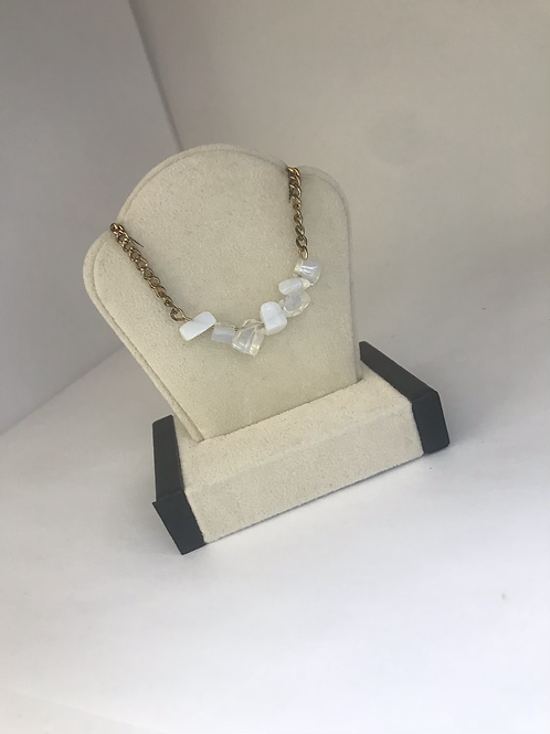 Gold Necklace with Clear and White Stones