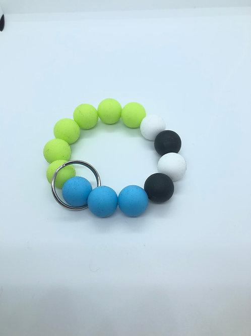 Lime + Blue + Black + White Keychain