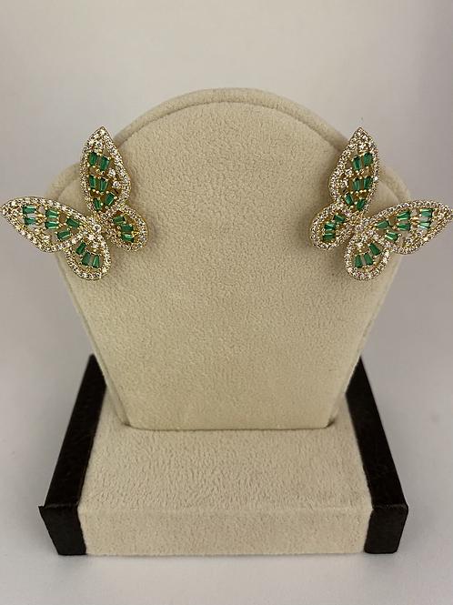 Gold + Green Beads Butterfly Earrings