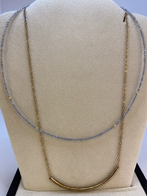 Silver and Gold Layered Necklace with Bar