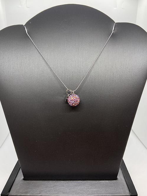 Pink Aurora Borealis Crystal Ball Necklace