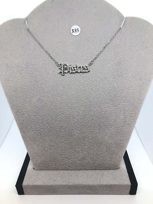 """""""Pisces"""" Cubic Zirconia Plated Zodiac Necklace"""