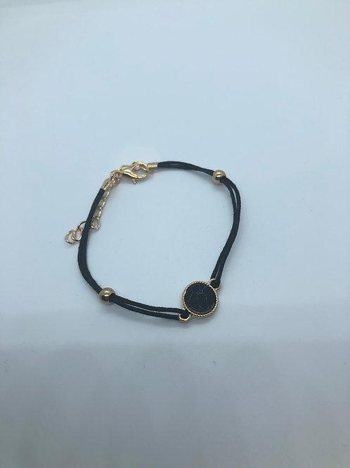 Small Gold + Black Adjustable Bracelet