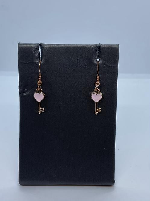 Rose gold heart key dangle earrings