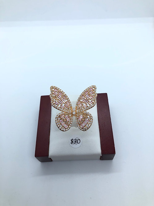 Pink + Rose Gold Butterfly Ring