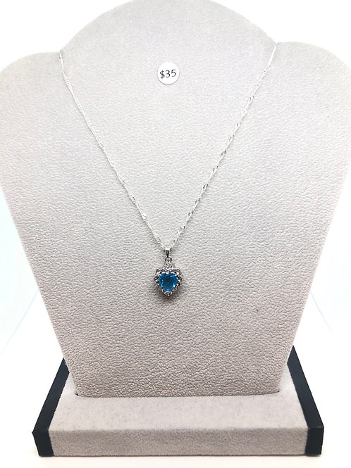 Blue Heart Crystal Necklace