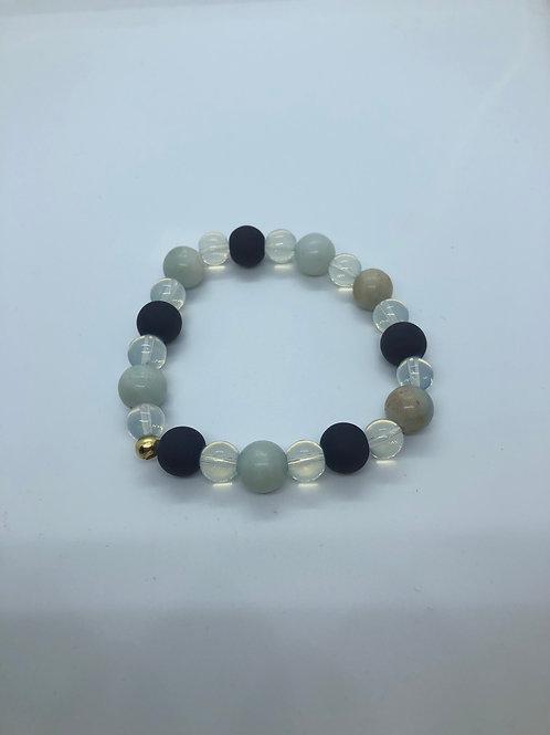 Navy + Cream Beaded Bracelet