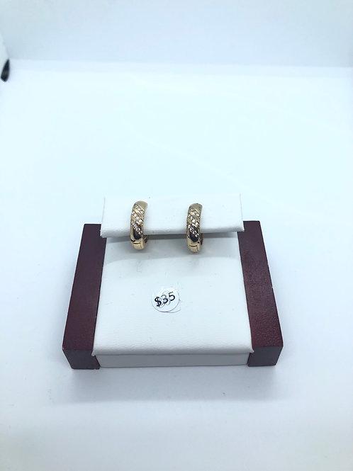 Gold + Cubic Zirconia Hoops