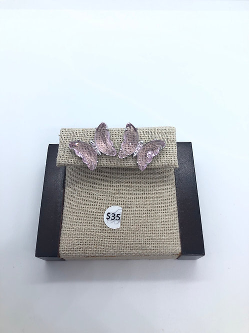 Glass Pink Butterfly Studs