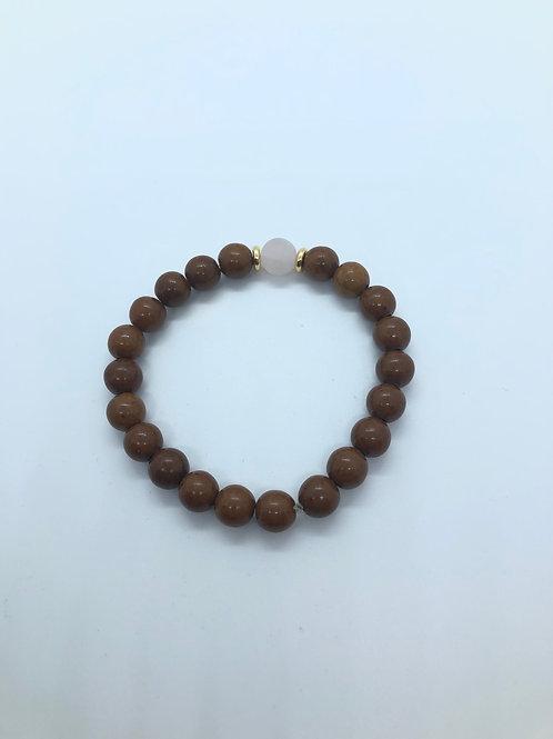 Brown + Clear Beaded Bracelet