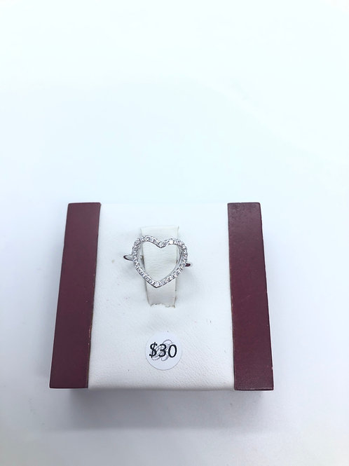 Cubic Zirconia Hollow Heart Ring