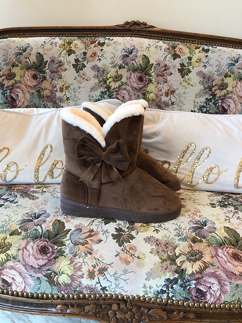 Dark Beige Bow Booties