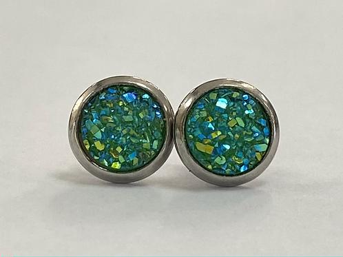Green Multicoloured Druzy Earrings