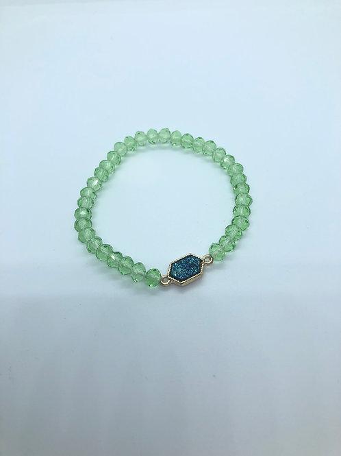 Lime + Blue Beaded Bracelet