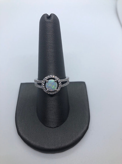 Lab created opal halo ring