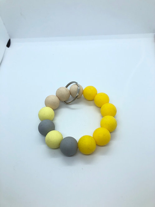 Yellow + Grey + Cream Keychain