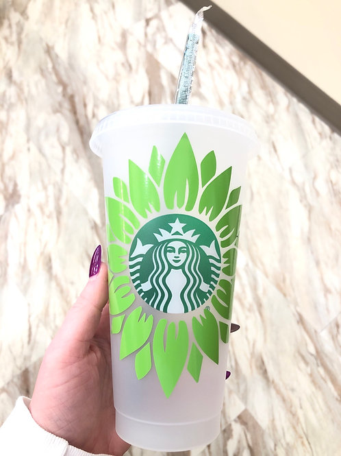 Green Flower Starbucks Cup