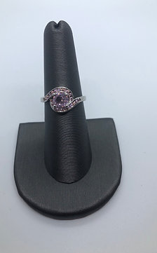 Swirl pink ring October birthstone