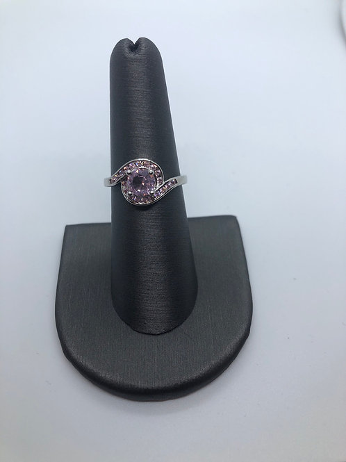 Swirl pink ring October birthstone