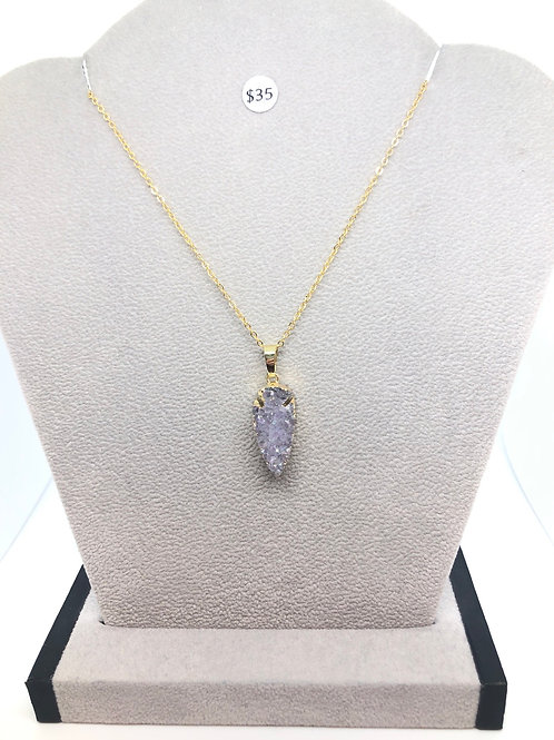 Gold + Blue Opal Crystal Necklace