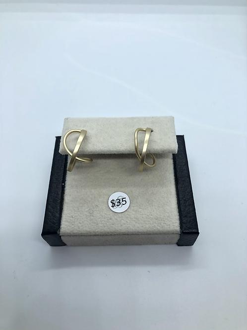 Gold Criss-Cross Hoops