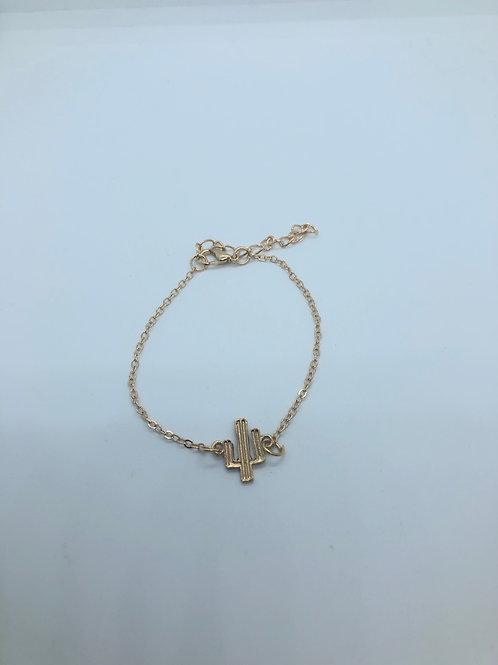 Gold Cactus Adjustable Bracelet
