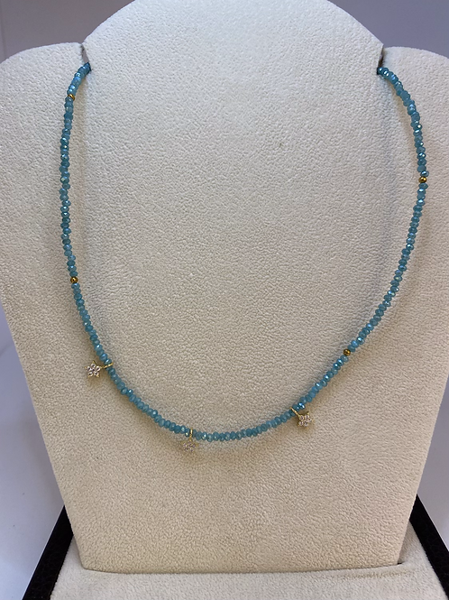 Blue Chocker Necklace with Gold Stars