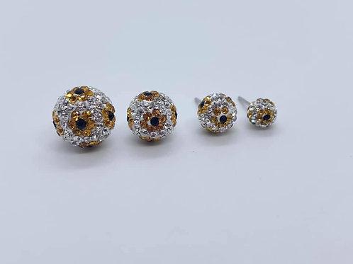 Waterproof crystal ball earrings