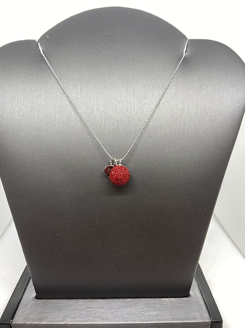 Red Micropavé Crystal Ball Necklace